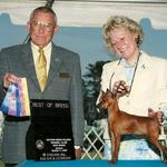 The late George Heitzman honoring Ritzy's win. This cute, snazzy girl finished her CH. at 7 months of age.